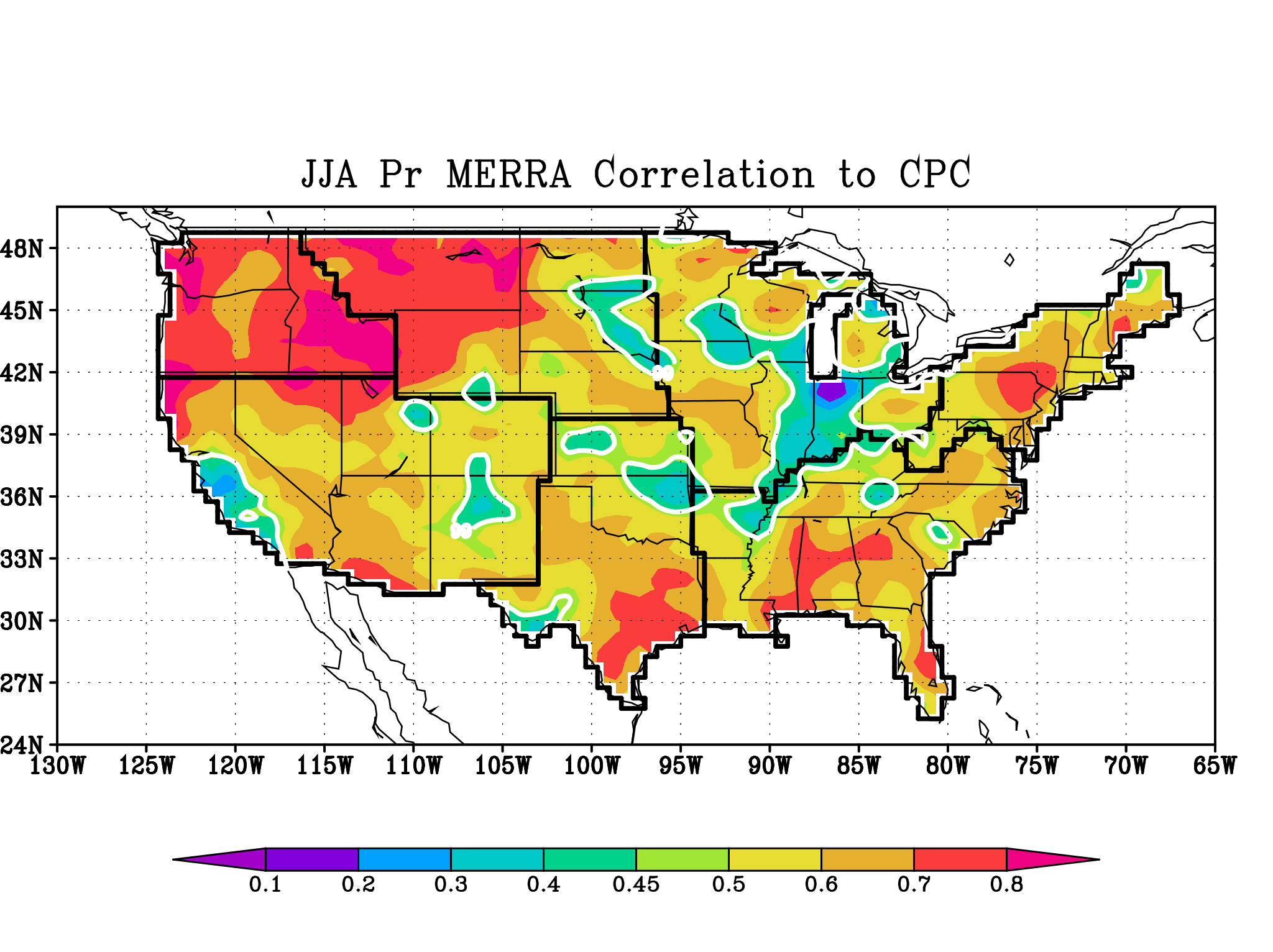 MERRA JJA Seasonal Precip correlated to CPC Gauge Observations